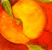Fruit Still Life Mixed Media Posters - Peachy Poster by Debi Pople