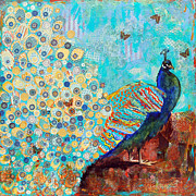 Oversized Painting Originals - Peacock Paparazzi by Miriam  Schulman
