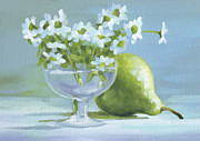 Blue And Green Paintings - Pear and Daisies by Natasha Denger