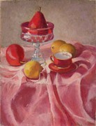 Drapery Pastels Prints - Pear on a Pedestal Print by Julie Mayser