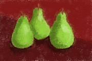 Fresh Fruit Painting Posters - Pear Trio Poster by Heidi Smith