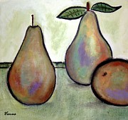 Food And Beverage Mixed Media Posters - Pears Poster by Venus