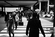 Manhaten Prints - Pedestrians Crossing Crosswalk Carrying Luggage On Seventh 7th Ave Avenue  Print by Joe Fox