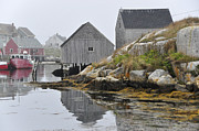 Boats In Harbor Prints - Peggys Cove Nova Scotia Print by Wendy Elliott