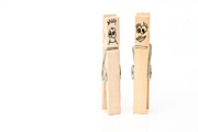 Embracing Framed Prints - Pegs Showing Happy Man And Woman Concept Framed Print by Fizzy Image