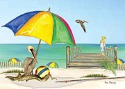 Anne Beverley - Pelican under Umbrella