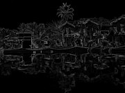 Indian Posters - Pencil - View of the cottages and lagoon water Poster by Ashish Agarwal
