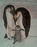 Black Family Pastels - Penguin Family by Shaunna Juuti