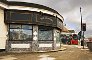 Sgt Peppers Art - Penny Lane shelter in the middle of a roundabout and beatles bus by Ken Biggs