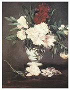 Flowers In White Vase Posters - Peonies Poster by Edouard Manet
