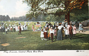 Patricia Hofmeester - People at the playground in Central Park circa 1910 on ancient p