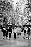 Catalunya Prints - People Walking Down La Rambla Barcelona Catalonia Spain Print by Joe Fox