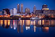 Downtown Framed Prints - Peoria Illinois Skyline at Night Framed Print by Paul Velgos
