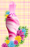 Toiletry Prints - Perfume bottle and flowers Print by Toots Hallam