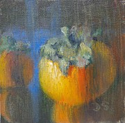 Donna Shortt Painting Metal Prints - Persimmon Metal Print by Donna Shortt