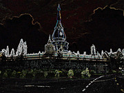 Spirituality Sculpture Metal Prints - Pha Nam Yoi  Temple Metal Print by Thanavut Chao-ragam