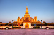 Buddhism Metal Prints - Pha That Luang stupa in Vientiane Laos Metal Print by Fototrav Print