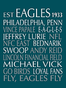 Word Art Art - Philadelphia Eagles by Jaime Friedman