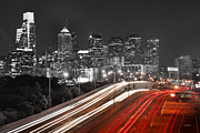 Philadelphia Photo Prints - Philadelphia Skyline at Night Black and White BW  Print by Jon Holiday