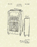 Record Player Drawings - Phonograph Cabinet 1938 Patent Art by Prior Art Design