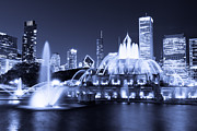 Lighted Park Prints - Photo of Chicago at Night with Buckingham Fountain Print by Paul Velgos
