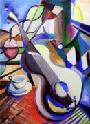 Interior Still Life Painting Metal Prints - Pickers Guitar Metal Print by Frederick   Luff  Gallery
