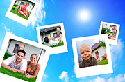 Slide Photographs Framed Prints - Pictures of happy family Framed Print by Michal Bednarek