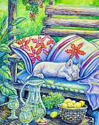 Gail Butler Prints - Pig On A Porch Print by Gail Butler