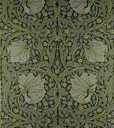 Green Tapestries - Textiles Posters - Pimpernel wallpaper design Poster by William Morris
