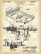 Parchment Framed Prints - Pinball Machine Patent Framed Print by Stephen Younts