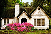 Charming Cottage Prints - Pink Azaleas - Old Southern Charm By Sharon Cummings Print by Sharon Cummings