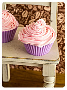 Frosting Photo Framed Prints - Pink Cupcakes Framed Print by Edward Fielding