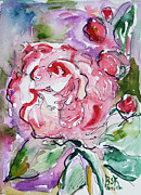 Impressionism Mixed Media Framed Prints - Pink Peony Framed Print by Becky Kim