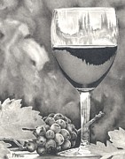 Wine-glass Drawings Prints - Pinot Adoration Print by Mark Treick