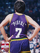 La Lakers Paintings - Pistol Pete Maravich by Paint Splat