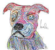 Dog Artists Drawings - Pit Bull by Brian Buckley