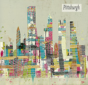 Pittsburgh Digital Art Framed Prints - Pittsburgh City Skyline  Framed Print by Brian Buckley