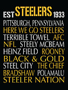 Pittsburgh Digital Art Prints - Pittsburgh Steelers Print by Jaime Friedman