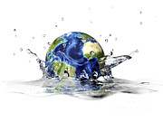Clean Water Digital Art Framed Prints - Planet Earth Falling Into Clear Water Framed Print by Leonello Calvetti