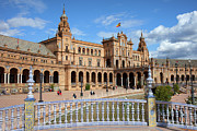 Ceramic Tile Prints - Plaza de Espana in Seville Print by Artur Bogacki