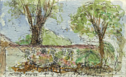 Sepia Ink Drawings - Plein Air Sketchbook.  Olivas Adobe Ventura California Concert. 9.3.2011.  by Cathy Peterson