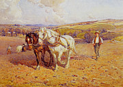 Plough Framed Prints - Ploughing Framed Print by Joseph Harold Swanwick