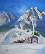 Railroad Snow Paintings - Plowing Home by Christopher Jenkins