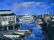 New England Ocean Drawings Prints - Plymouth Harbor Print by Jean Pacheco Ravinski