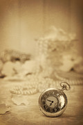 Necklace Photo Metal Prints - Pocket Watch Metal Print by Christopher and Amanda Elwell