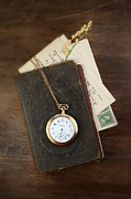 Remembering The Life Prints - Pocketwatch on Old Book Print by Jill Battaglia