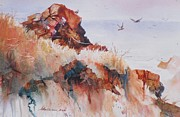 Red Point Paintings - Point Lobos Precipice by John  Svenson
