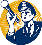 Torch Posters - Policeman Security Guard With Flashlight Retro Poster by Aloysius Patrimonio