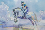 Horse Greeting Cards Prints - Polo Art Print by Catf