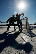 Hockey Net Posters - Pond Hockey Poster by Steve Somerville